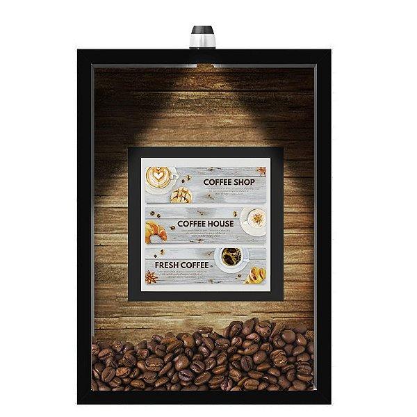 QUADRO DUPLO CAIXA 33X43  (COM LED )PORTA GRÃOS DE CAFE Nerderia e Lojaria  graos cafe fresh preto
