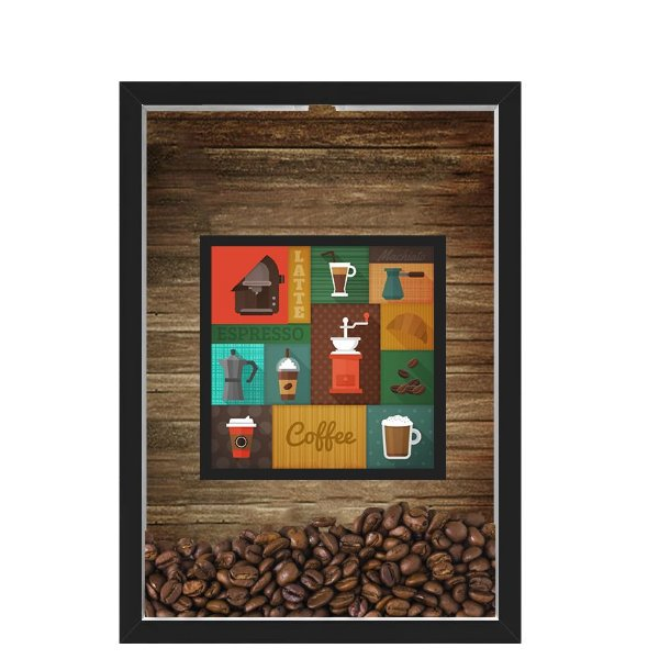 QUADRO DUPLO CAIXA 33X43  PORTA GRÃOS DE CAFE Nerderia e Lojaria  graos cafe maquinas preto