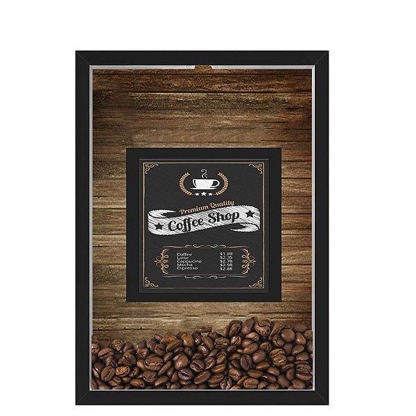 QUADRO DUPLO CAIXA 33X43  PORTA GRÃOS DE CAFE Nerderia e Lojaria graos cafe shop preto