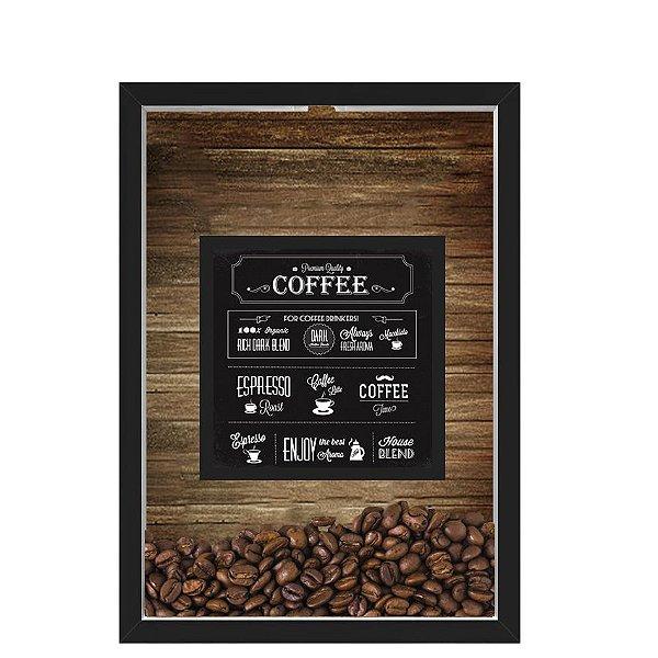 QUADRO DUPLO CAIXA 33X43  PORTA GRÃOS DE CAFE Nerderia e Lojaria graos cafe premium quality preto