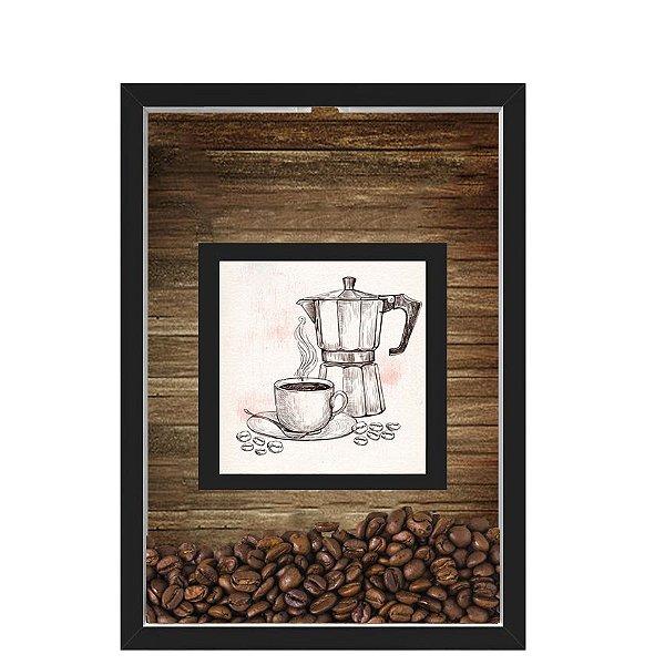 QUADRO DUPLO CAIXA 33X43  PORTA GRÃOS DE CAFE Nerderia e Lojaria graos cafe maquina preto