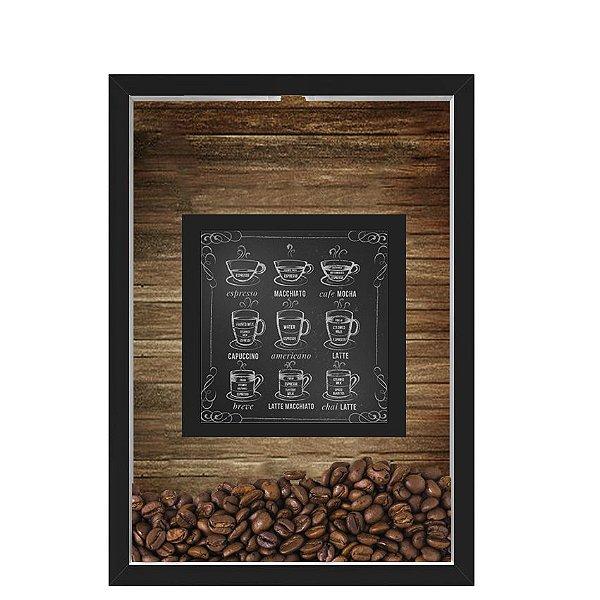 QUADRO DUPLO CAIXA 33X43  PORTA GRÃOS DE CAFE Nerderia e Lojaria graos cafe lousa preto