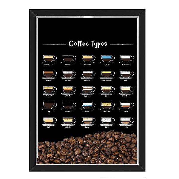 QUADRO CAIXA 33X43  PORTA GRÃOS DE CAFE Nerderia e Lojaria graos tipo cafe preto