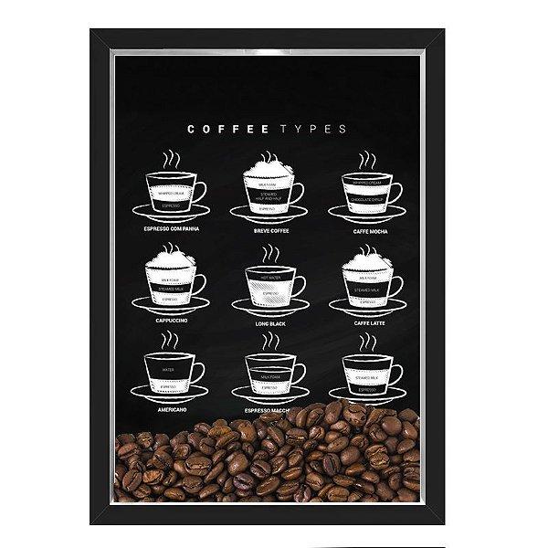 QUADRO CAIXA 33X43  PORTA GRÃOS DE CAFE Nerderia e Lojaria graos cafe types preto