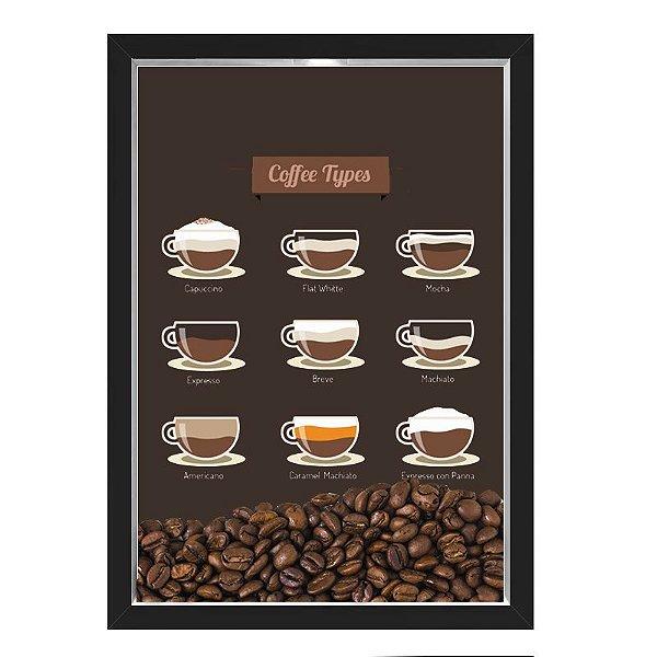 QUADRO CAIXA 33X43  PORTA GRÃOS DE CAFE Nerderia e Lojaria graos cafe tipos preto