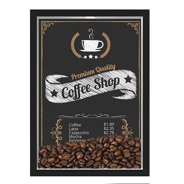 QUADRO CAIXA 33X43  PORTA GRÃOS DE CAFE Nerderia e Lojaria graos cafe shop preto