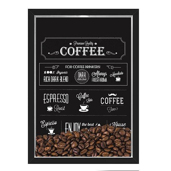 QUADRO CAIXA 33X43  PORTA GRÃOS DE CAFE Nerderia e Lojaria graos cafe premium quality preto