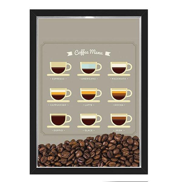 QUADRO CAIXA 33X43  PORTA GRÃOS DE CAFE Nerderia e Lojaria graos cafe menu preto