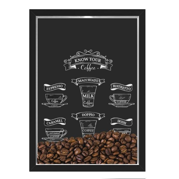 QUADRO CAIXA 33X43  PORTA GRÃOS DE CAFE Nerderia e Lojaria graos cafe know your preto