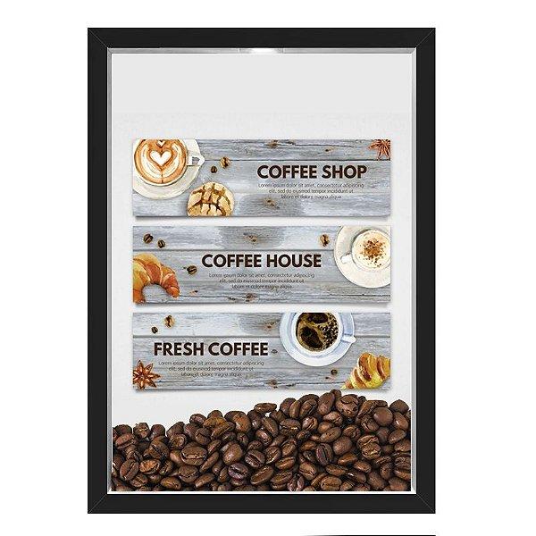 QUADRO CAIXA 33X43  PORTA GRÃOS DE CAFE Nerderia e Lojaria graos cafe fresh preto