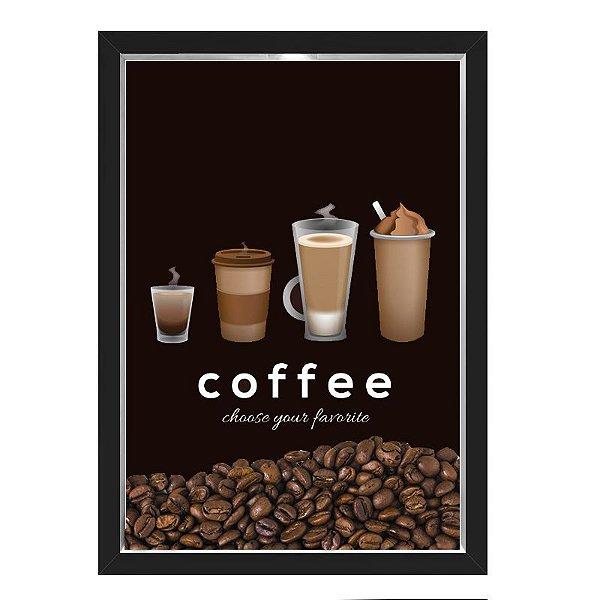 QUADRO CAIXA 33X43  PORTA GRÃOS DE CAFE Nerderia e Lojaria graos cafe choose preto