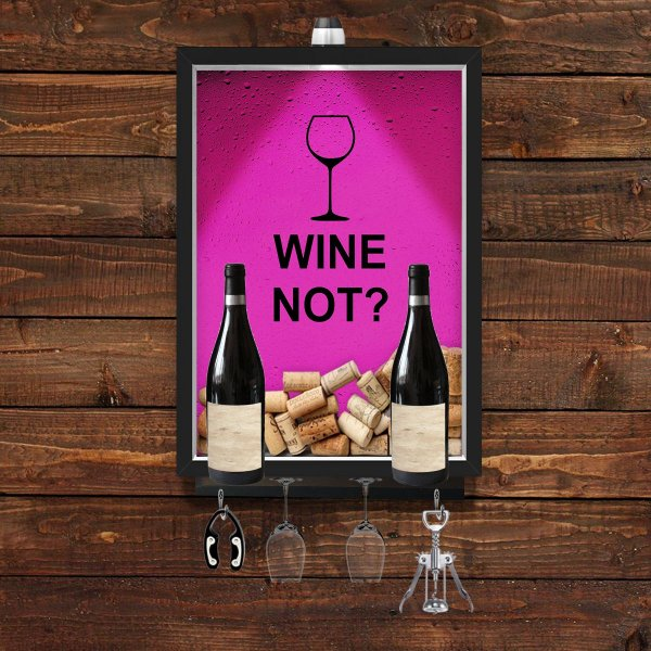 QUADRO CAIXA 33x43 cm  VINHO  PORTA ROLHA  COM SUPORTE PARA TAÇAS, GARRAFAS e pendurador Nerderia e Lojaria wine not pre