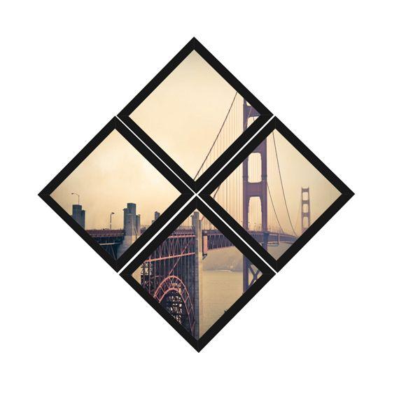 Kit Quadros (4 Unidades) 23x23cm Nerderia e Lojaria Bridge San Francisco preto