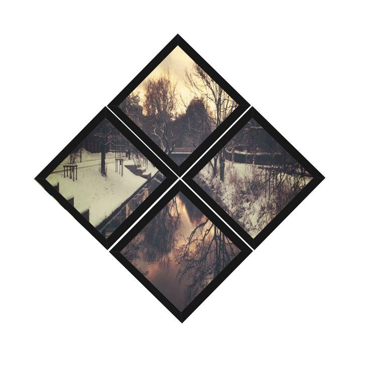 Kit Quadros (4 Unidades) 23x23cm Nerderia e Lojaria Neve Outono preto