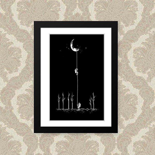 Quadro Decorativo 23x33cm Nerderia e Lojaria astronauta lua preto
