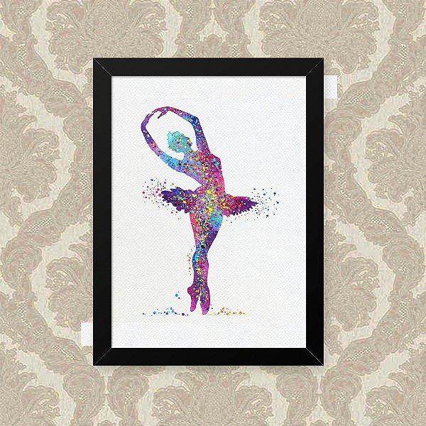 Quadro Decorativo 23x33cm Nerderia e Lojaria ballet colorido preto