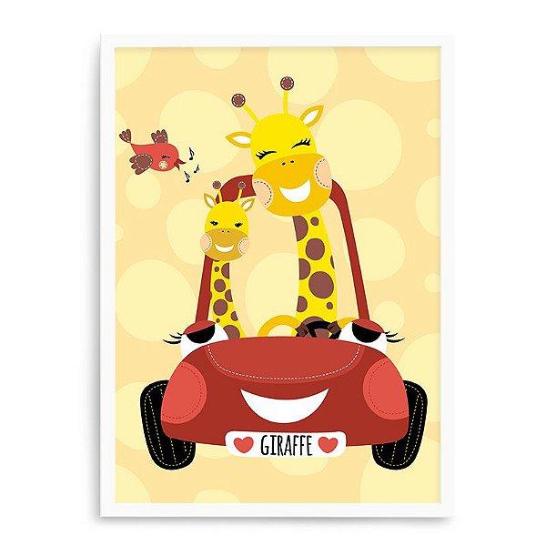 Quadro Decorativo 23x33cm Nerderia e Lojaria branco girafas no carro branco