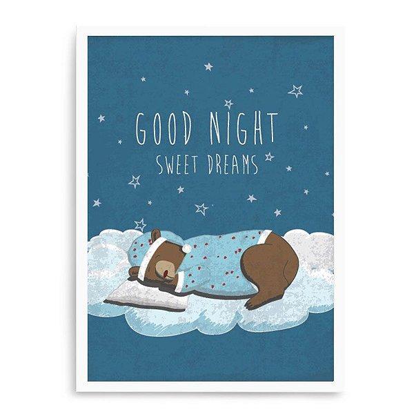Quadro Decorativo 23x33cm Nerderia e Lojaria branco urso boa noite branco