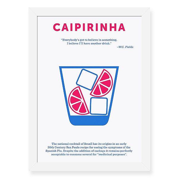 Quadro Decorativo 23x33cm Nerderia e Lojaria drinks caipirinha preto