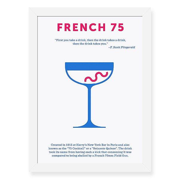 Quadro Decorativo 23x33cm Nerderia e Lojaria drinks french preto