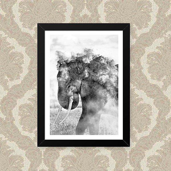 Quadro Decorativo 23x33cm Nerderia e Lojaria elefante fumaça preto