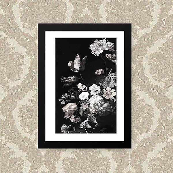 Quadro Decorativo 23x33cm Nerderia e Lojaria flor fundo escuro preto