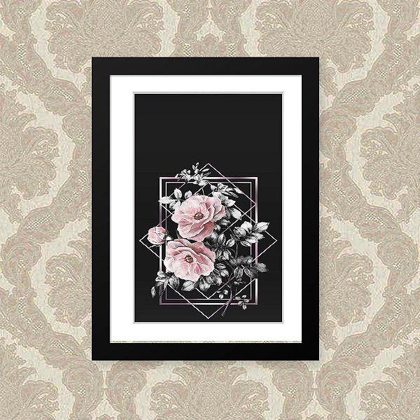 Quadro Decorativo 23x33cm Nerderia e Lojaria flor geometrica preto
