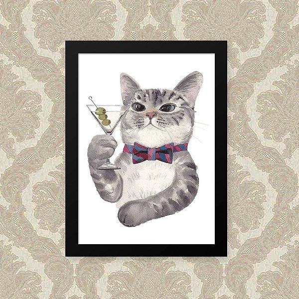 Quadro Decorativo 23x33cm Nerderia e Lojaria gato drink preto