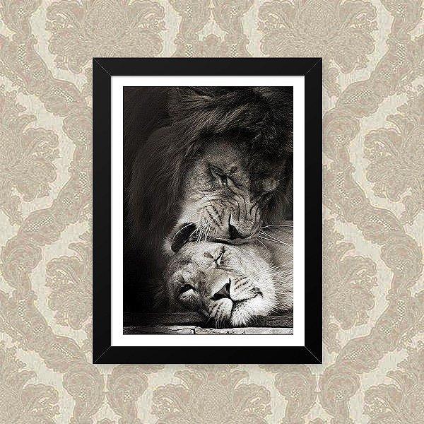 Quadro Decorativo 23x33cm Nerderia e Lojaria lion love preto