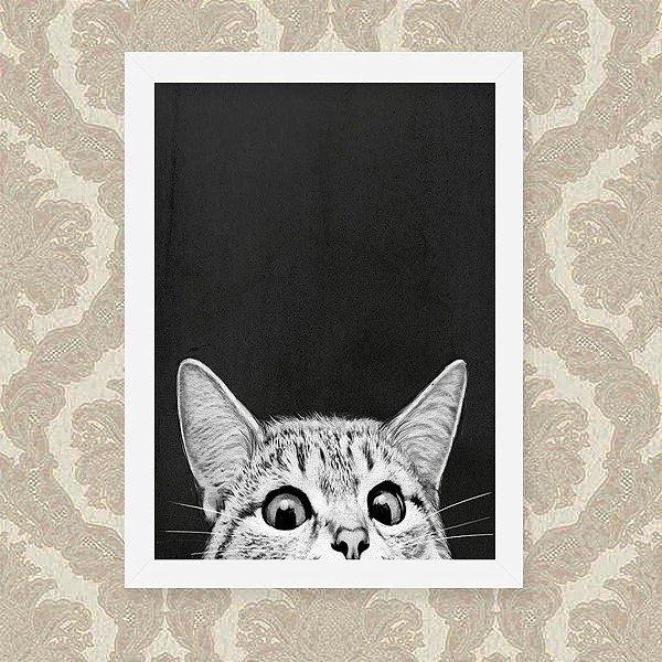 Quadro Decorativo 23x33cm Nerderia e Lojaria gato preto