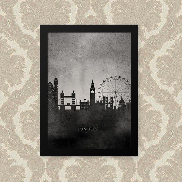 Quadro Decorativo 23x33cm Nerderia e Lojaria london preto