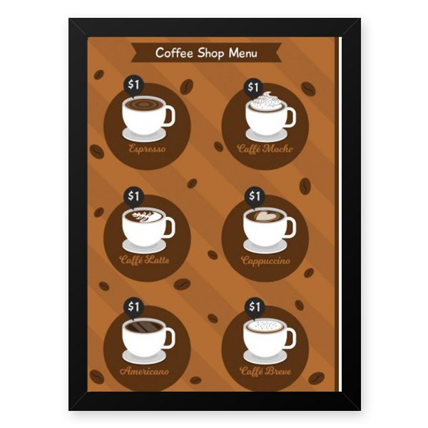 Quadro Decorativo 23x33cm Nerderia e Lojaria graos cafe shop menu preto