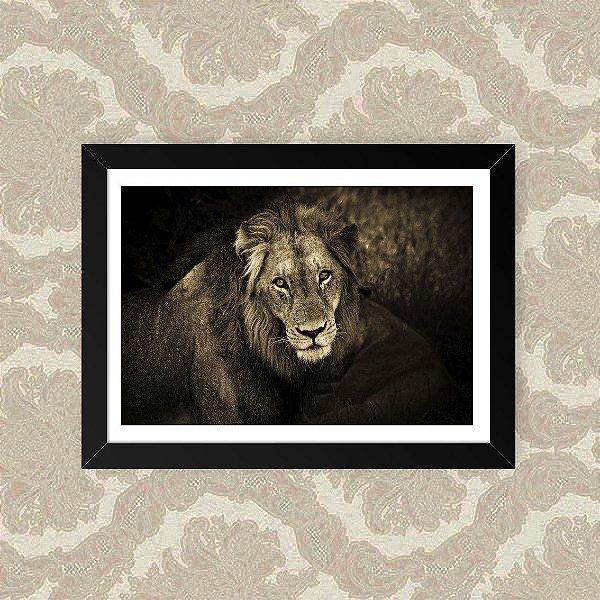 Quadro Decorativo 23x33cm Nerderia e Lojaria leão sépia preto