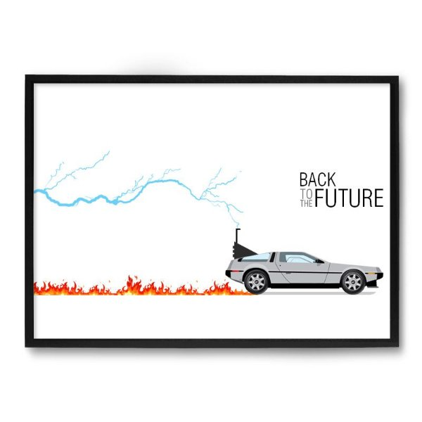 Quadro Decorativo 33x43cm Nerderia e Lojaria back to the future fire preto