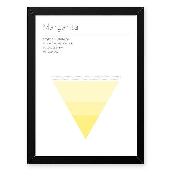 Quadro Decorativo 33x43cm Nerderia e Lojaria drinks margarita preto