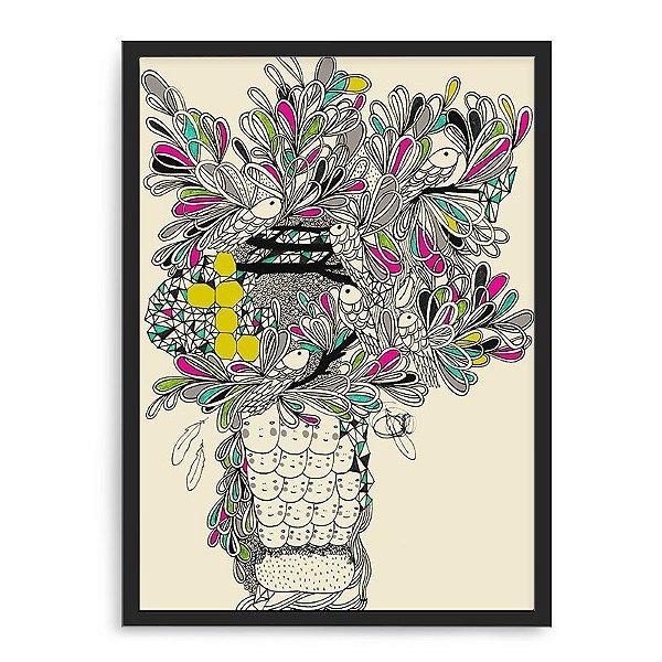 Quadro Decorativo 33x43cm Nerderia e Lojaria flores e peixes preto