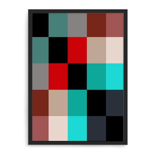 Quadro Decorativo 33x43cm Nerderia e Lojaria geometrica 02 preto