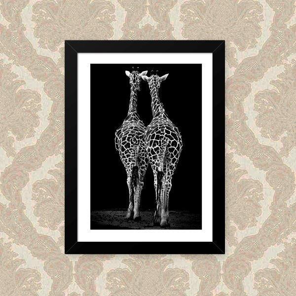 Quadro Decorativo 33x43cm Nerderia e Lojaria girafas amigas preto