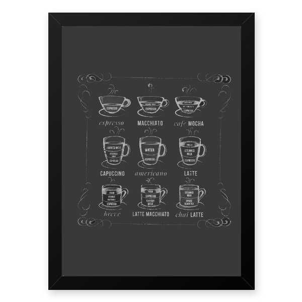 Quadro Decorativo 33x43cm Nerderia e Lojaria graos cafe lousa preto