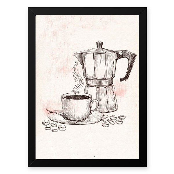 Quadro Decorativo 33x43cm Nerderia e Lojaria graos cafe maquina preto