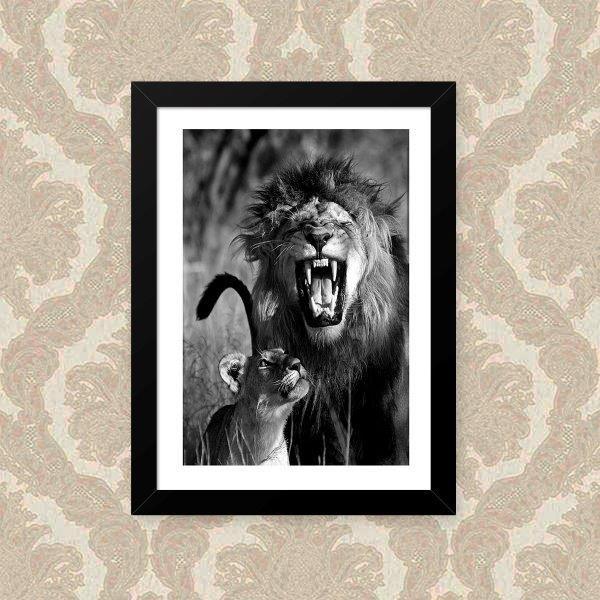 Quadro Decorativo 33x43cm Nerderia e Lojaria leao leoa preto