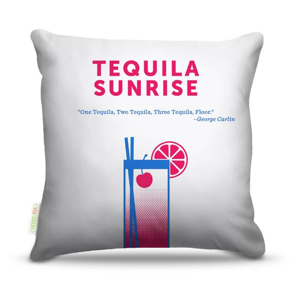 Almofada 45 x 45cm  Nerderia e Lojaria bebidas vetor tequila sunrise colorido