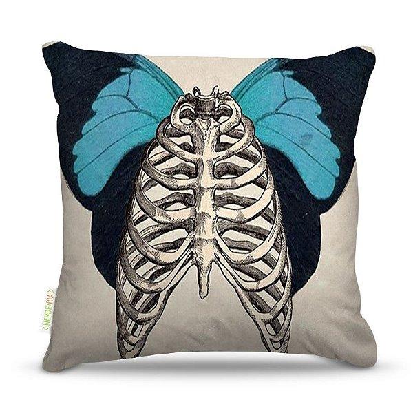 Almofada 45 x 45cm  Nerderia e Lojaria butterfly bone colorido