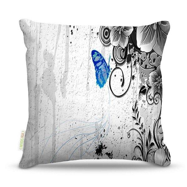 Almofada 45 x 45cm  Nerderia e Lojaria buttlerfly azul colorido