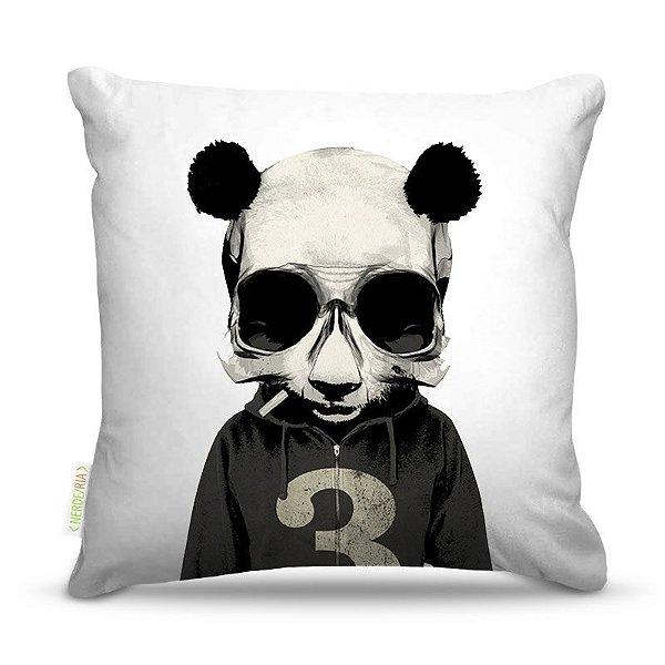 Almofada 45 x 45cm  Nerderia e Lojaria caveira panda colorido