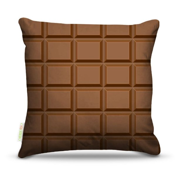 Almofada 45 x 45cm  Nerderia e Lojaria chocolate colorido