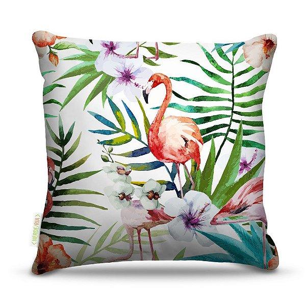 Almofada 45 x 45cm  Nerderia e Lojaria flamingo com flores colorido