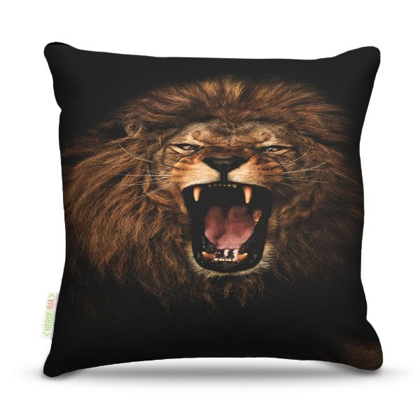Almofada 45 x 45cm  Nerderia e Lojaria lion sepia colorido
