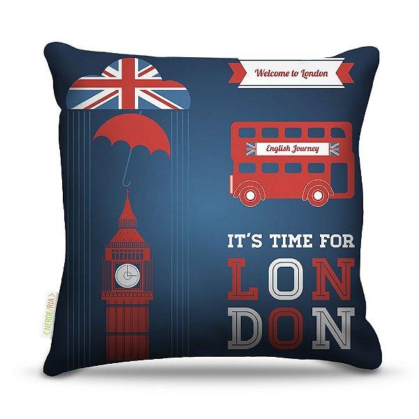 Almofada 45 x 45cm  Nerderia e Lojaria London time colorido