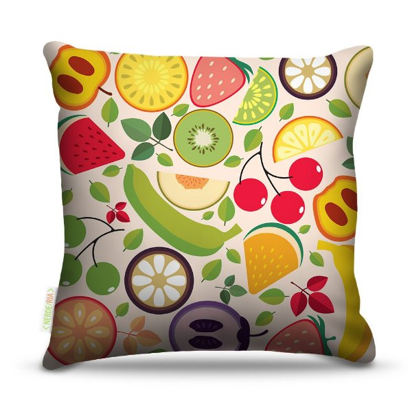 Almofada 45 x 45cm  Nerderia e Lojaria frutas coloridas colorido